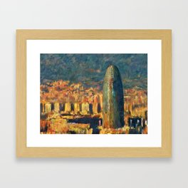 Sunset in Barcelona Framed Art Print