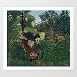 Fight between a Tiger and a Buffalo Art Print