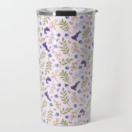 Ditsy Bunnies Amok - Purple Bunnies, Pink Background Travel Mug