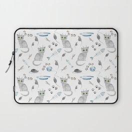 Watercolor gray kitten Laptop Sleeve