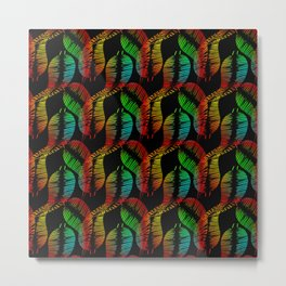 Neon feathers and leaves on a black background. Metal Print