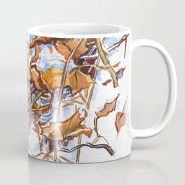 ground beneath my feet in winter: dry leaves, grass, branches, snow Coffee Mug