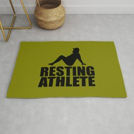 resting athlete funny quote Rug