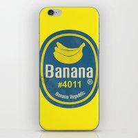 sticker iPhone & iPod Skins featuring Banana Sticker On Yellow by Karolis Butenas