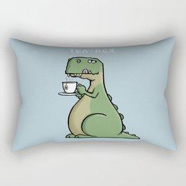 Tea-Rex - Funny T-Rex Dinosaur Tea Pun Cartoon Illustration Rectangular Pillow