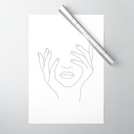 Minimal Line Art Woman with Hands on Face Wrapping Paper