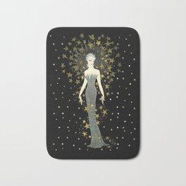 "Art Deco Sepia Illustration ""Star Studded Glamor"" Bath Mat"