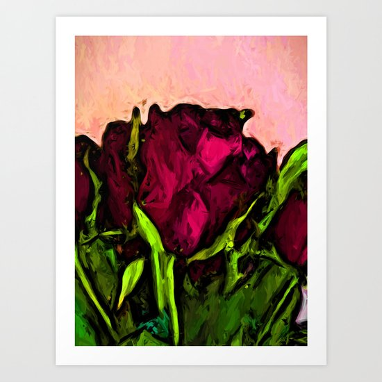 Red Rose with Green Leaves Art Print