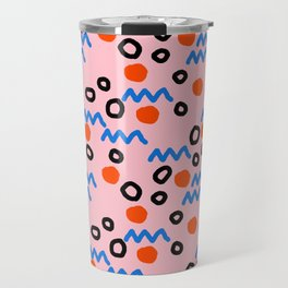 Bro - abstract retro pattern squiggle dot lines grid pink red children 1980s 80s throwback pop art Travel Mug