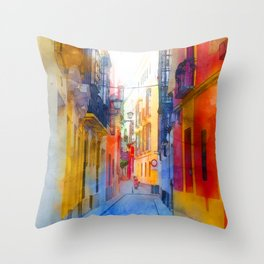 Seville, the colorful streets of Spain Throw Pillow
