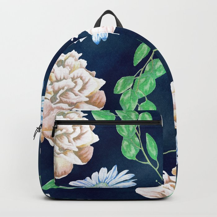 Rose Garden Navy Blue Antique Floral Pattern Backpack