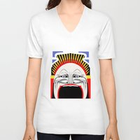 melbourne V-neck T-shirts featuring Melbourne (Full Face Version) by George Williams