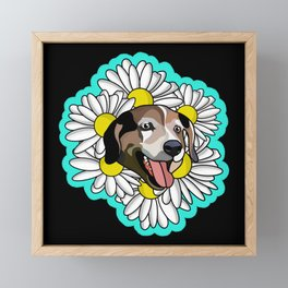 Black daisy Framed Mini Art Print