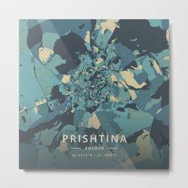 Prishtina, Kosovo - Cream Blue Metal Print