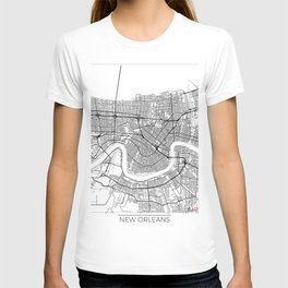 New Orleans Map White T-shirt