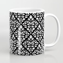 Scroll Damask Big Pattern White on Black Coffee Mug