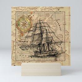 Vintage Nautical Map Mini Art Print
