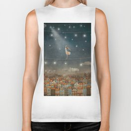 Illustration of  cute houses and  pretty girl   in night sky Biker Tank