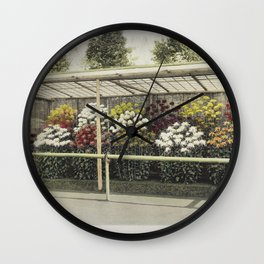 Chrysanthemum Garden hand-colored collotype from Some Japanese Flowers (1896) by Kazumasa Ogawa Wall Clock