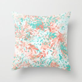 Peach and Turquoise Abstract Throw Pillow