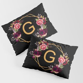 Monogram G initial - gold geometric with florals black Pillow Sham