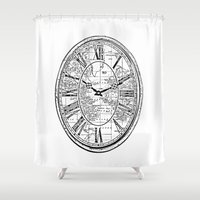 wall clock Shower Curtains featuring Clock by Mr and Mrs Quirynen