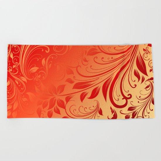 Orange red swirls leaves  Beach Towel