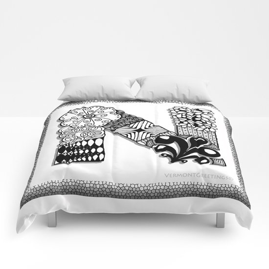 Zentangle N Monogram Alphabet Illustration Comforters