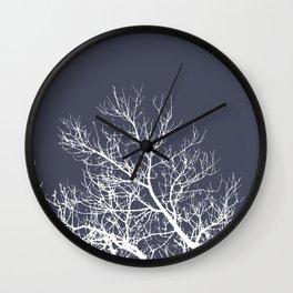 Dark Winter Trees Wall Clock