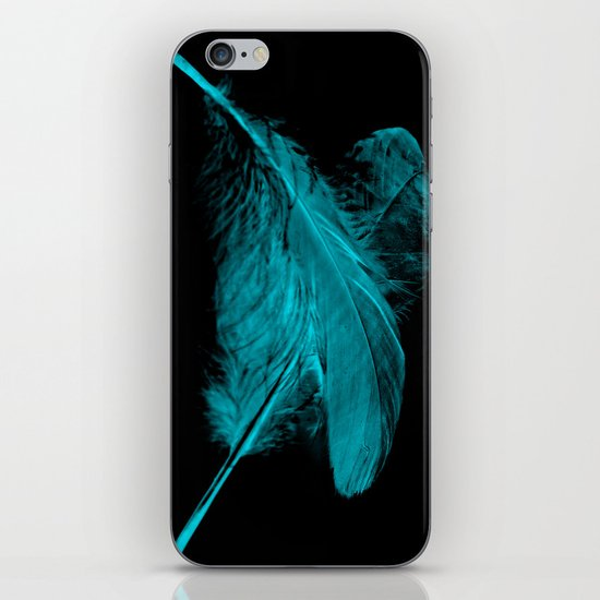 Blue Ghost on Black iPhone & iPod Skin