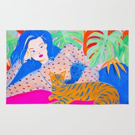 Girl Relaxing with Cat Rug