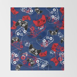 Video Game Red White & Blue 1 Throw Blanket