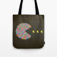 pacman Tote Bags featuring PACMAN by gazonula
