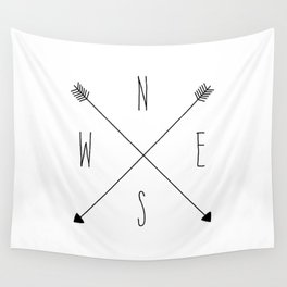 Compass - North South East West - White Wall Tapestry