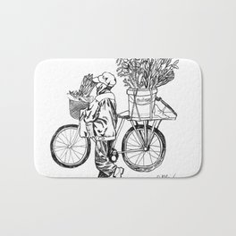 Bicycle Flower Seller in Hanoi in Pencil Bath Mat