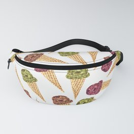 Watercolor Ice Cream Cones Fanny Pack