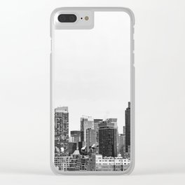 The New York Cityscape City (Black and White) Clear iPhone Case
