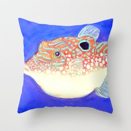 Blue Spotted Orange Toby Puffer Throw Pillow