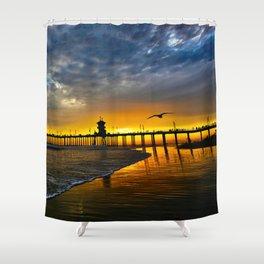 Seagull Sunset ~ Huntington Beach Pier   Shower Curtain