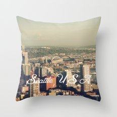 City of Seattle. View from city tower. Landscape city architecture photography. Throw Pillow