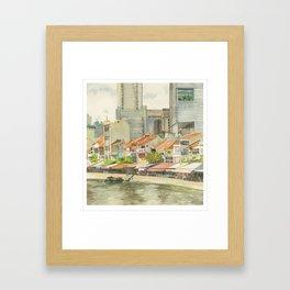 Boat Quay, Singapore Framed Art Print