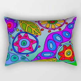 Abstract Wild Flowers Digital Painting Rectangular Pillow