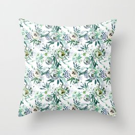 Country white green rustic watercolor floral Throw Pillow