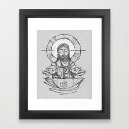 Jesus Christ Eucharist illustration Framed Art Print