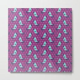 Flower of Life Birds Pattern Metal Print