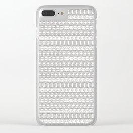 Black on White Geometric Aztec Tribal Pattern Clear iPhone Case