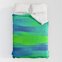 Lime Green & Blue Stripes Abstract Comforters