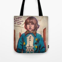 kubrick Tote Bags featuring *Hiss* *Crakle* Mr. Kubrick... *Crakle* by LeKolora