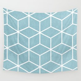 Light Blue and White - Geometric Textured Cube Design Wall Tapestry