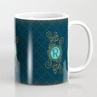 monogram Mugs featuring Monogram R by Britta Glodde